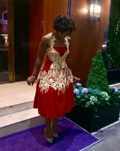 Meet Chioma Akpotha the cute Actress. She dressed in red for an event in London. This red isn't just any kind like I'm in love with it. Reminds me of father Christmas lol. Anyways check out the photos below:  Slay Queen Chioma Akpotha in red gown(photos).