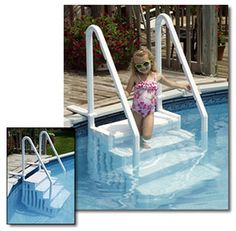 Easy Above Ground Pool Steps. Looks so much safer than the ones that come with the pool. Above Ground Pool Stairs, Best Above Ground Pool, Above Ground Swimming Pools, In Ground Pools, Oberirdische Pools, Cool Pools, Lap Pools, Cabana, Swimming Pool Steps