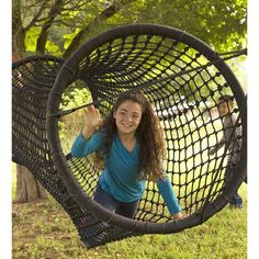 HearthSong Rope Tunnel Bridge - Includes 2 Heavy Duty Ratchets - Kids Outdoor Backyard Playground Climbing Equipment - 8 ft Long x W - Black ** See this great product. (This is an affiliate link) Kids Outdoor Play, Outdoor Play Areas, Backyard For Kids, Outdoor Games, Outdoor Fun, Outdoor Gifts For Kids, Outdoor Life, Do It Yourself Garten, Room Ideias