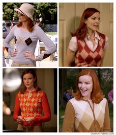 Her and her cute sweaters💗😊 Marcia Cross, Desperate Housewives Bree, Fashion Tv, Fashion Outfits, Bree Van De Kamp, 50s Outfits, Conservative Fashion, Cute Sweaters, Argyle Sweaters