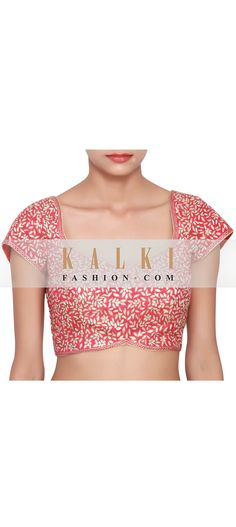 Buy Online from the link below. We ship worldwide (Free Shipping over US$100)     http://www.kalkifashion.com/scarlet-red-pink-blouse-featured-in-raw-silk-embellished-in-zari-work-all-over-only-on-kalki.html