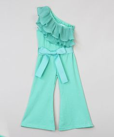 Look at this #zulilyfind! Green Asymmetrical Ruffle Jumpsuit - Infant, Toddler & Girls #zulilyfinds