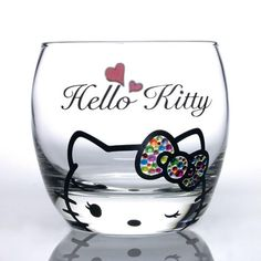 Sanrio Hello Kitty Swarovski Decorated Blue Glass Mug