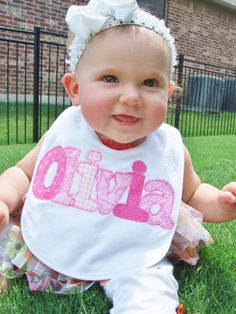 Personalized Baby Bib Appliqued in your by TriedAndTrueDesigns, $14.00