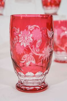 12 Val St. Lambert Hand Blown Crystal Large Tumblers Cut to Clear with Birds image 4$5,200