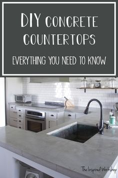 This beautiful DIY kitchen renovation includes pour in place concrete countertops that span a large island and peninsula. The tutorial shows you how to pour your own concrete countertops in place! The post covers the does, don'ts and so much more!