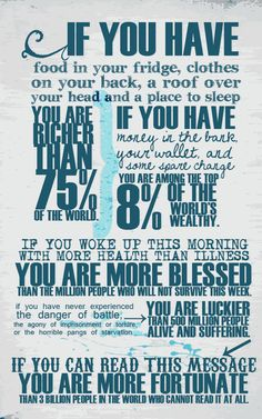 *PERSPECTIVE*. REMEMBER just how BLESSED and FORTUNATE I am...then ANY problems or worries that I have will be nothing at all~