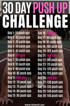 The ultimate 30 day push up challenge to improve your upper body strength! Push … The ultimate 30 day push up challenge to improve your upper body strength! Push ups are an amazing bodyweight exercise.