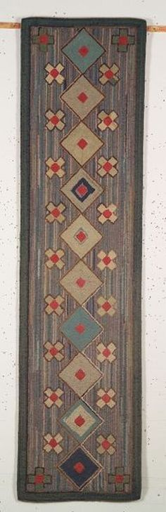 Wool and Cotton Geometric Hooked Runner, America, early 20th century