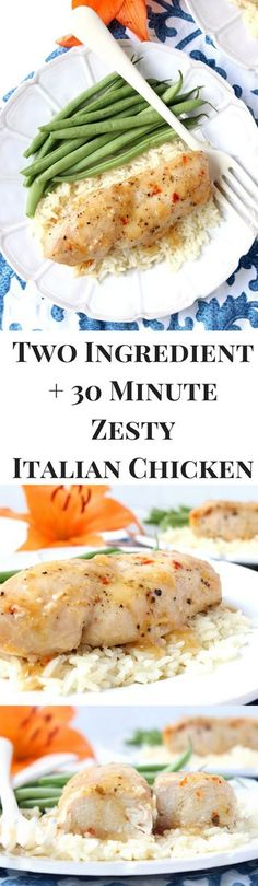 Two-Ingredient + 30 Minute Zesty Italian Chicken! this dinner is perfect for when you need to eat healthy in a pinch, it's so fast and easy!!