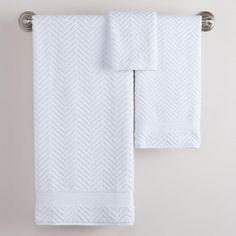 White Chevron Cotton Towels