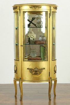 Gold Leaf Antique French Curved Glass Vitrine or Curio Cabinet