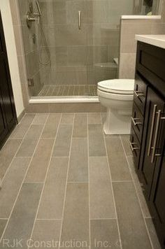 Bathroom Tile Floor Ideas | Bathroom Plank Tile Flooring Design Ideas, Pictures, Remodel, and ...