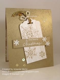 """I like the little tag that makes up the decoration on this card! Could make one fancy enough to become a """"tree ornament""""."""