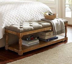 Cassandra Upholstered Storage Bench | Pottery Barn --  you can do this with a coffee table and some pillows.