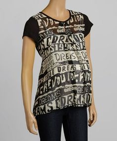 Another great find on #zulily! Black & White 'Dream' Maternity Top - Women by QT Maternity #zulilyfinds