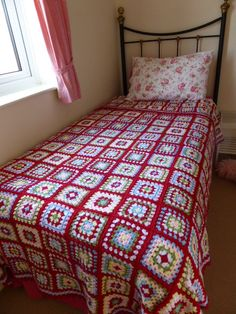 Crochet Granny Square Blanket in Cath Kidston Colours Stylecraft Special DK