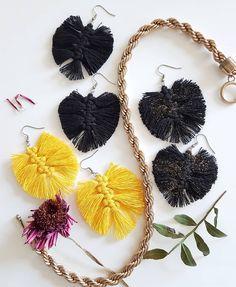 Macramee jewerly / recycled cotton / earrings / ecology / Mielikki korvakorut / Ekotar Design Ecology, Jewerly, Crochet Earrings, Recycling, Cotton, Design, Fashion, Moda, Jewlery