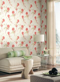 Fresh floral wallpaper by York in Coral and Asparagus is your island getaway in the city.  Buy today with http://lelandswallpaper.com
