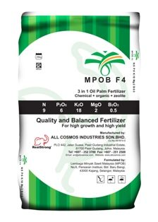 MPOB F4 is a 3 in 1 control-release fertilizer consisting of living organisms, chemical and organic matters. It is suitable for application on sloping terrain and problematic soil. MPOB F4 is a balanced fertilizer and it is incorporated with zeolite to increase CEC for better nutrient and water retention, minimizing leaching losses that save on fertilizer cost.