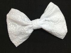 All white fabric hair bow