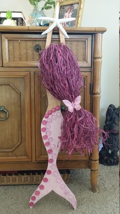 Pink Mermaid with Purple Hair Wall by JeanneTierneyDesigns on Etsy