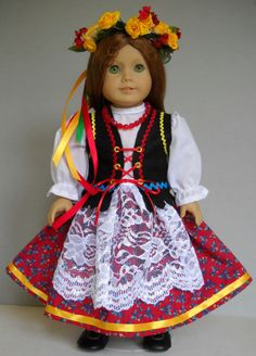 """Fits 18"""" American Girl doll Poland Polish folk dress clothes E (COSTUME ONLY)"""
