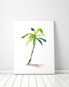 Palm tree impression peinture Aquarelle Aquarelle vert-Zen zen dessin nature illustration-aquarelle-palm palmier