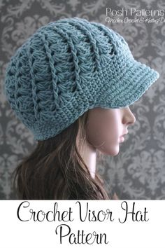 Crochet Pattern - This incredibly elegant crochet visor hat pattern features a pretty spiral shell stitch design. Perfect for all girls and ladies! By Posh Patterns.