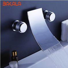 (84.05$)  Watch now  - Freeshipping BAKALA Luxury modern  banheiro Brass Chromed  3 holes faucet waterfall faucet LT-303-2