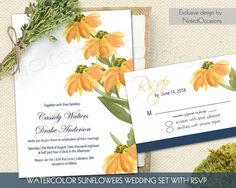 Sunflower Wedding Invitation Watercolor Sunflowers Printable Rustic Country Wedding Invitations set RSVP Digital printable File Navy Blue by NotedOccasions on Etsy