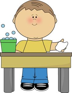 Wash Table Clip Art | Boy Classroom Table Washer Clip Art Image - boy with a bucket of soapy ...