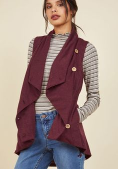 Linger for the Afternoon Vest in Maroon. Grab your journal, camp out in your favorite spot, and ensure your stay is extra nice by buttoning this pocketed burgundy vest on your frame! Chic Fall Fashion, Geek Chic Fashion, Fall Fashion 2016, Winter Fashion Outfits, Fasion, Autumn Winter Fashion, Fashion Ideas, Red Waistcoat, Burgundy Vest