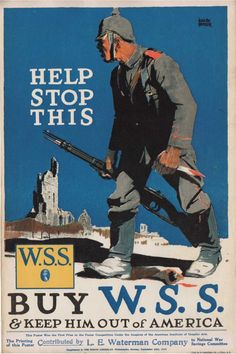 """This is a World War I wartime production 9-1/2 by 14-1/4 inch ""Buy W.S.S. & Keep Him Out of America"" 1918 Poster. """