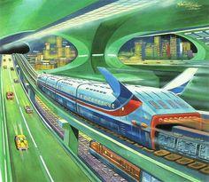 Transportation Hyperloop for Trains and Cars inside a Torus artificial world.  #SpaceColony  #OrbitingWorld  #StanfordTorus  #LivingInSpace