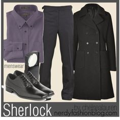A fashion look from May 2012 featuring double breasted coat, mens slim fit tuxedo pants and nordstrom mens dress shirts. Browse and shop related looks. Sherlock Fashion, Sherlock Outfit, Sherlock Cosplay, Comic Con Costumes, Cosplay Costumes, Slim Fit Tuxedo, Geek Fashion, Casual Cosplay, Sherlock Bbc