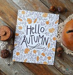 Hello Autumn Happy Fall Seasonal Decor Give Thanks by penandpaint