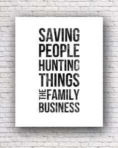 Supernatural Dean Winchester Typography Quote 8x10 by UrbanGeekOut, $15.00
