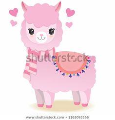 cute pink llama with scarf Cute Animal Illustration, Cute Animal Drawings, Kawaii Drawings, Cute Drawings, Alpacas, Felt Dolls, Paper Dolls, Llamas Animal, Llama Drawing