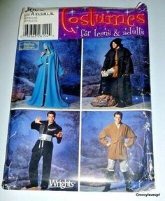 Un-Cut Sewing Pattern. Pattern is factory folded. Wear on the outside corners. The instructions look to be complete. Tudor Costumes, Girl Costumes, Cosplay Costumes, Costume Patterns, Dress Sewing Patterns, Viking Cosplay, Wizard Robes, Gibson Girl, Star Wars Jedi