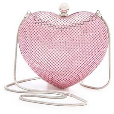 Whiting & Davis Charity Heart Clutch (1.260 NOK) ❤ liked on Polyvore featuring bags, handbags, clutches, purses, bolsas, accessories, heart shaped purse, whiting davis purse, pink heart purse and red heart purse