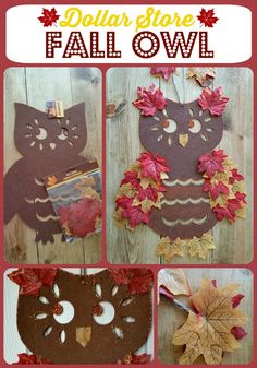 Dollar Store Fall Owl - Turn a plain dollar store felt owl into a fun & festive fall owl for under $5. #dollarstore #owl #fall