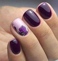 Nail Art Designs In Every Color And Style – Your Beautiful Nails Nail Art Designs Images, Square Nail Designs, Flower Nail Designs, Short Nail Designs, Cute Nails, Pretty Nails, Purple Nail Art, Purple Makeup, Short Square Nails