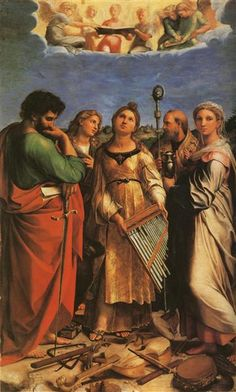 St. Cecilia with Sts. Paul, John Evangelists, Augustine and Mary Magdalene - Raphael