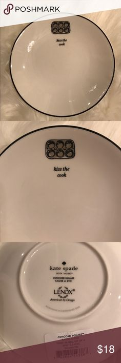 "Kate spade ""kiss the cook"" plate Adorable Kate Spade dessert plate ideal for snacks.  Ideal for entertaining!   Please check out my other plates on the collection. kate spade Accessories"