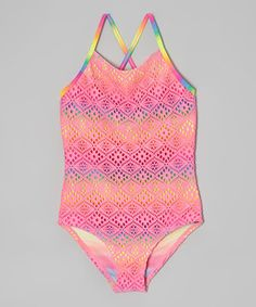 Another great find on #zulily! St. Tropez Pink Crochet One-Piece - Girls by St. Tropez #zulilyfinds