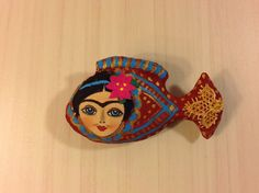 textile brooch fish Frida hand painted brooch by NatashaArtDolls