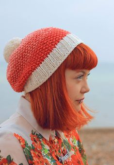 Hand Knitted - Bamboo & Wool Mix - ombré - Coral Hat. Not a pattern and I hate to put someone's Etsy item in DIY but this hat is stinkin' cute!!