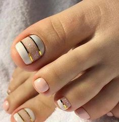 Stunning toe nail design with white and pink colors, Nail DesignsYou can find Toe nail designs and more on our website.Stunning toe nail design with white and pink co. Gel Toe Nails, Simple Toe Nails, Pretty Toe Nails, Cute Toe Nails, Summer Toe Nails, Feet Nails, Classy Nails, Toe Nail Art, Gel Toes