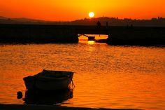 Sunset in Kanoni, Garitsa, Corfu island, Peloponnese Western Greece n de Ionian_ Greece